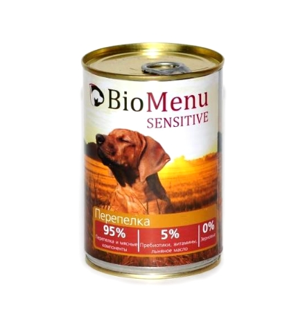 BioMenu Sensitive Консервы для Собак Перепелка Цена за упаковку 410x12