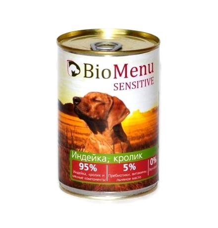 BioMenu Sensitive Консервы для Собак Индейка & Кролик Цена за упаковку 410x12