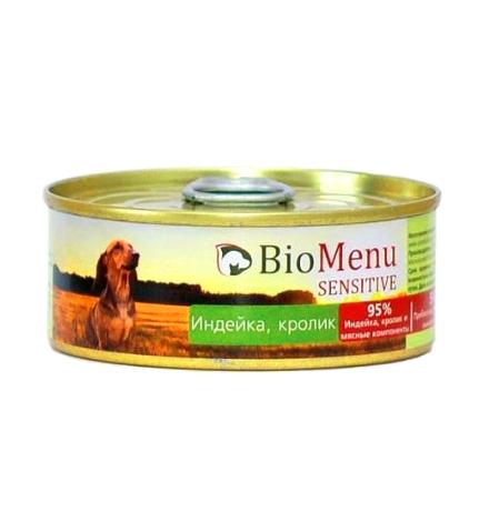 BioMenu Sensitive Консервы для Собак Индейка & Кролик Цена за упаковку 100x24