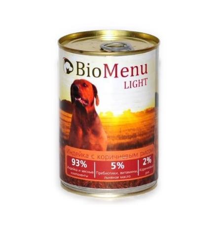 BioMenu Light Консервы для Собак Индейка с коричневым рисом Цена за упаковку 410x12