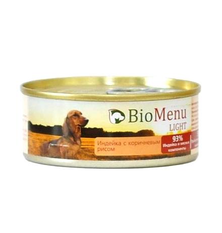 BioMenu Light Консервы для Собак Индейка с коричневым рисом Цена за упаковку 100x24