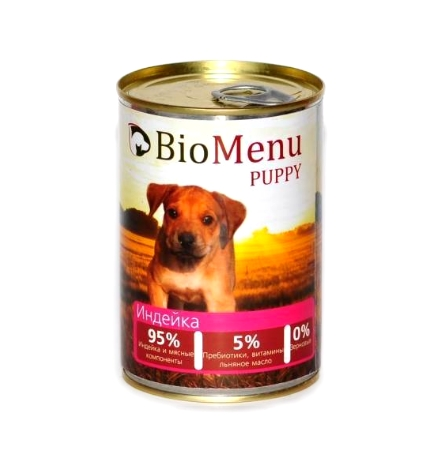 BioMenu Puppy Консервы для Щенков Индейка Цена за упаковку 410x12