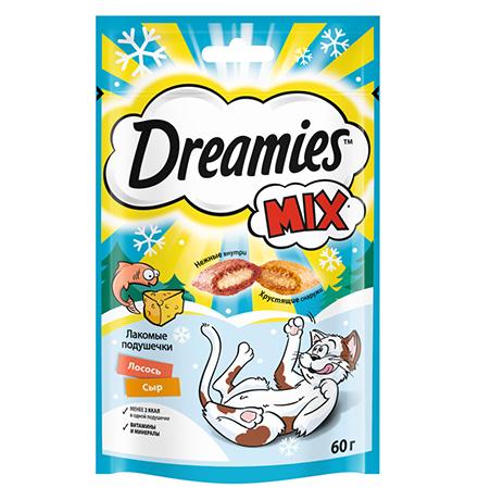 Dreamies Mix / Лакомство Дримис для кошек Подушечки Лосось Сыр