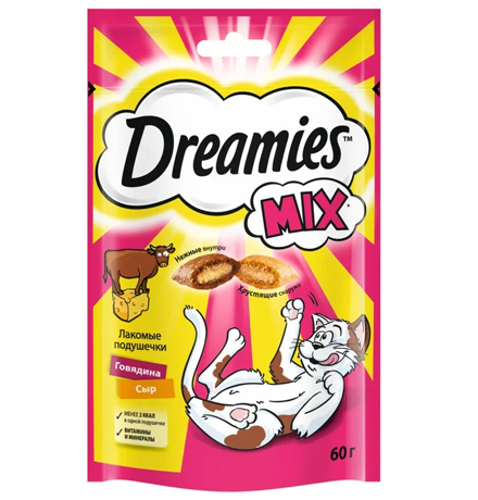 Dreamies Mix / Лакомство Дримис для кошек Подушечки Говядина Сыр