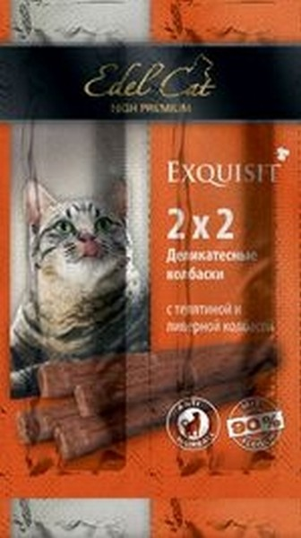 Edel Cat Деликатесные Колбаски-мини для кошек Телятина и Ливерная колбаса 1х4