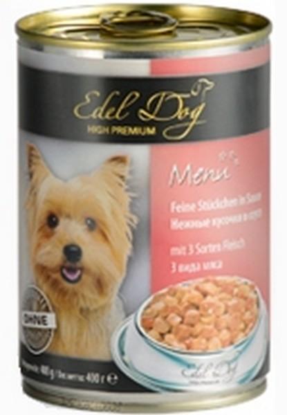 Edel Dog / Консервы Эдель Дог для собак 3 Вида Мяса кусочки в Соусе Цена за упаковку