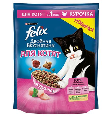 Felix Двойная вкуснятина / Сухой корм Феликс для Котят с Курочкой