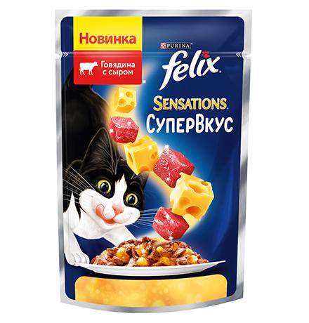 Felix Sensations СуперВкус / Феликс Сенсейшенс Паучи в желе Говядина с сыром (цена за упаковку)