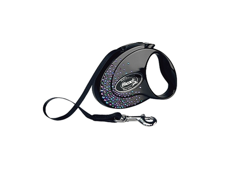 Flexi Glam Splash Mystic S / Флекси рулетка с Синими кристаллами Swarovski для собак весом до 12 кг Лента 3 м