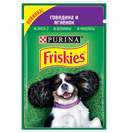 Friskies / Паучи Фрискис для собак Говядина и Ягненок (цена за упаковку)