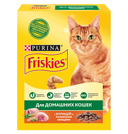Friskies / Сухой корм Фрискис для Домашних кошек с Курицей и полезными овощами
