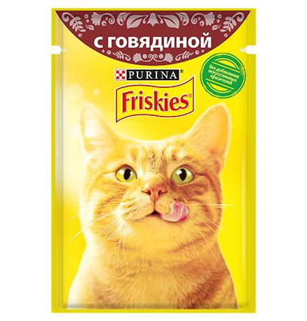 Friskies / Паучи Фрискис для кошек с Говядиной (цена за упаковку)