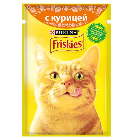 Friskies / Паучи Фрискис для кошек с Курицей (цена за упаковку)