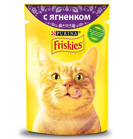 Friskies / Паучи Фрискис для кошек с Ягненком (цена за упаковку)