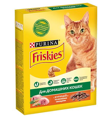 Friskies / Сухой корм Фрискис для кошек с Мясом и полезными овощами