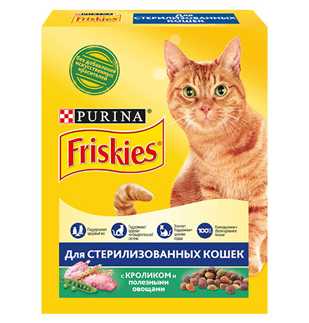Friskies Sterilised / Сухой корм Фрискис для Стерилизованных кошек Кролик