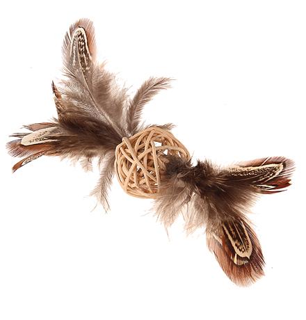 GiGwi Cat Catch & Scratch Eco line / Игрушка Гигви для кошек Плетеный мячик с колокольчиком и перьями