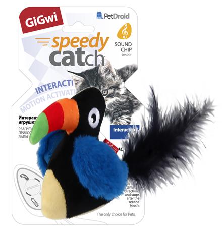 GiGwi Cat Speedy catch / Игрушка Гигви для кошек Интерактивный Тукан со звуковым чипом