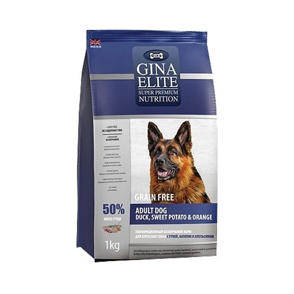 Gina Dog Elite GF Adult / Сухой Беззерновой корм Джина для взрослых собак Утка Батат Апельсин