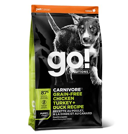GO! Puppy Carnivore Grain Free Chicken Turkey + Duck Recipe / Сухой Беззерновой корм Гоу для Щенков всех пород 4 вида мяса: Индейка Курица Лосось Утка