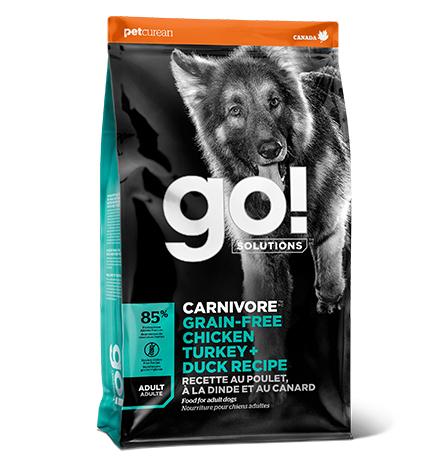 GO! Carnivore Grain Free Chicken Turkey Duck Adult Recipe / Сухой Беззерновой корм Гоу для взрослых собак 4 вида мяса Индейка Курица Лосось Утка