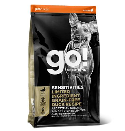 GO! Sensitivities Limited Ingredient Grain FreeDuck Recipe / Сухой Беззерновой корм Гоу для Щенков и собак с Чувствительным пищеварением свежая Утка
