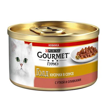 Gourmet Gold / Консервы Гурме Голд для кошек Кусочки в соусе с Уткой и Оливками (цена за упаковку)