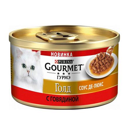 Gourmet Gold / Консервы Гурме Голд для кошек Соус де-люкс с Говядиной (цена за упаковку)