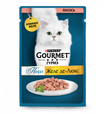 Gourmet Perle / Паучи Гурме Перл для кошек Желе де-Люкс Лосось (цена за упаковку)