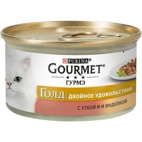 Gourmet Gold / Консервы Гурме Голд для кошек Двойное удовольствие с Уткой и Индейкой (цена за упаковку)