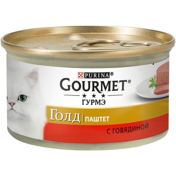 Gourmet Gold / Паштет Гурме Голд для кошек с Говядиной (цена за упаковку)