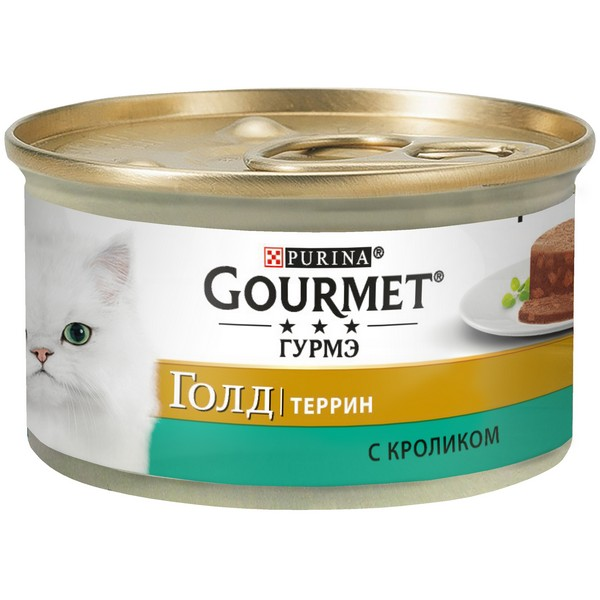 Gourmet Gold / Террин Кусочки в Паштете Гурме Голд для кошек с Кроликом по-французски (цена за упаковку)