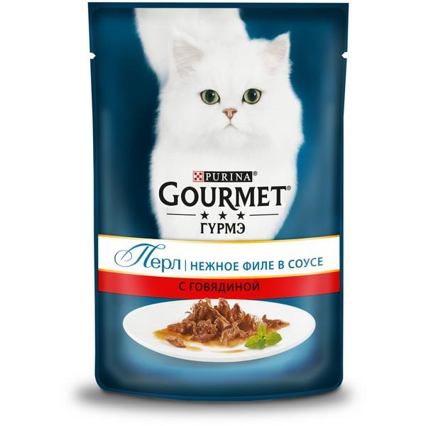 Gourmet Perle / Паучи Гурме Перл для кошек Мини-филе с Говядиной (цена за упаковку)