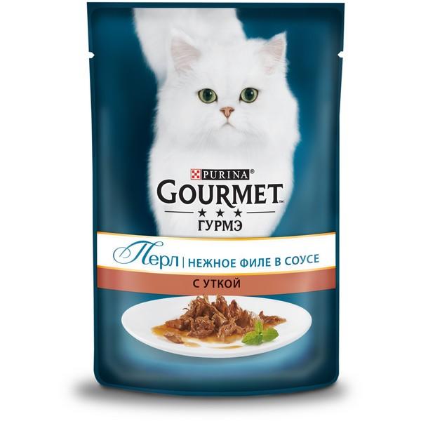 Gourmet Perle / Паучи Гурме Перл для кошек Мини-филе с Уткой (цена за упаковку)