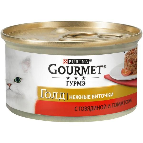 Gourmet Gold / Консервы Гурме Голд для кошек Нежные биточки Говядина с томатом (цена за упаковку)