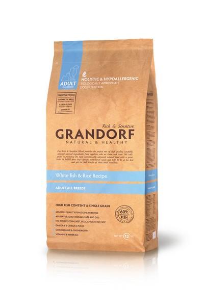 Grandorf Holistic & Hypoallergenic All Breeds White Fish & Rice / Сухой корм Грандорф Низкозерновой для взрослых собак всех пород Белая рыба Рис