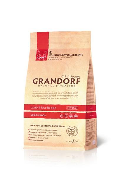 Grandorf Holistic & Hypoallergenic Indoor Lamb & Rice / Сухой корм Грандорф Низкозерновой для домашних кошек Ягненок Рис