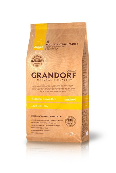 Grandorf Holistic & Hypoallergenic Mini Probiotic 4 meat / Сухой корм Грандорф Низкозерновой с Живыми Пробиотиками для собак Мелких пород 4 вида Мяса и Бурый Рис