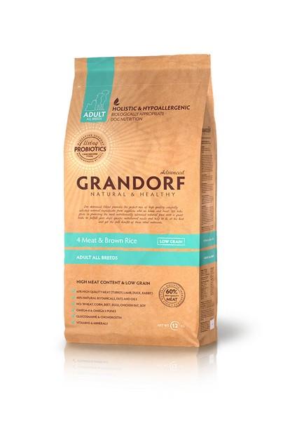 Grandorf Holistic & Hypoallergenic All Breeds Probiotic 4 meat / Сухой корм Грандорф Низкозерновой с Живыми Пробиотиками для собак всех пород 4 вида Мяса и Бурый Рис