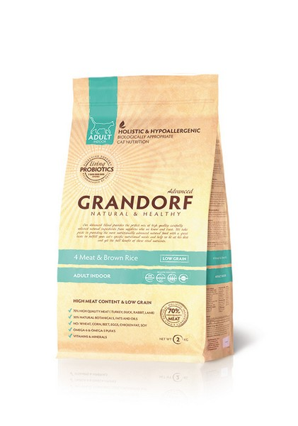 Grandorf Holistic & Hypoallergenic Indoor Probiotic 4 meat / Сухой корм Грандорф Низкозерновой с Живыми Пробиотиками для Домашних кошек 4 вида Мяса и Бурый Рис
