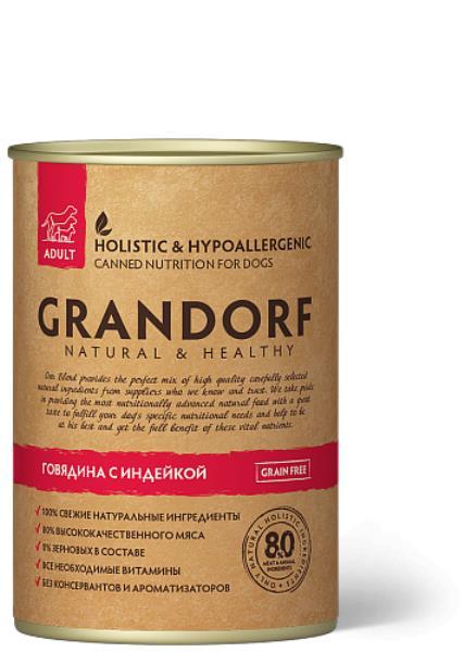 Grandorf Beef & Turkey / Консервы Грандорф для взрослых собак Говядина с Индейкой (цена за упаковку)