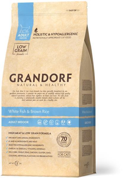 Grandorf Holistic & Hypoallergenic Indoor White Fish & Rice / Сухой корм Грандорф Низкозерновой для домашних кошек Белая рыба Рис