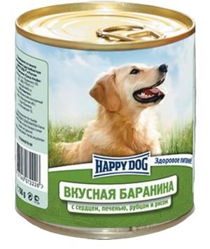 Happy Dog Вкусная Баранина / Консервы Хэппи Дог для собак Баранина с сердцем, печенью, рубцом и рисом (цена за упаковку, Россия)