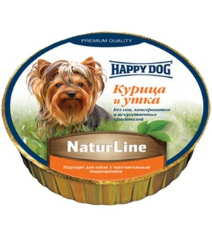 Happy Dog NaturLine / Паштет Хэппи Дог для собак Курица и Утка (цена за упаковку, Германия)