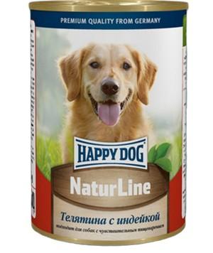Happy Dog NaturLine / Консервы Хэппи Дог для собак Телятина с Индейкой (цена за упаковку, Россия)