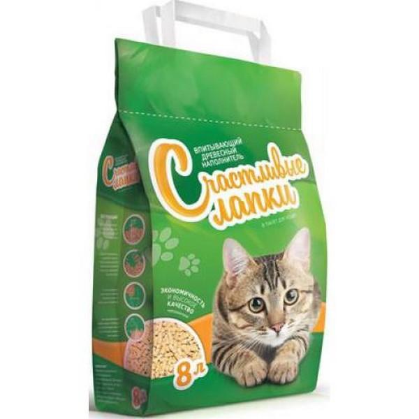 Счастливые лапки Наполнитель для кошачьего туалета Древесный