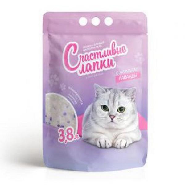 Счастливые лапки Наполнитель для кошачьего туалета Силикагелевый с ароматом Лаванды