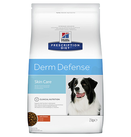 Hills Prescription Diet Canine Derm Defense / Лечебный корм Хиллс Дерм Дефенс для взрослых собак для поддержания Кожи при Дерматитах или избыточной потери шерсти Курица