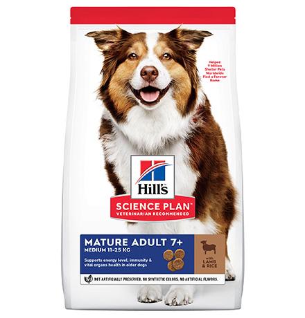 Hills Science Plan Mature 7+ Medium Lamb & Rice / Сухой корм Хиллс для собак Средних пород старше 7 лет Ягненок с рисом