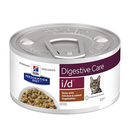 Hills Prescription Diet Feline i/d / Лечебные консервы Хиллс i/d для кошек Заболевание ЖКТ (нарушение пищеварения) Рагу с Курицей и добавлением овощей (цена за упаковку)
